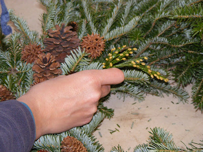 crafting with pine boughs