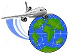 A graphic of the globe and an airplane
